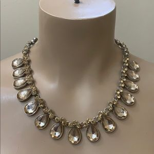 Anthropology Champaign Crystal Rhinestone Necklace